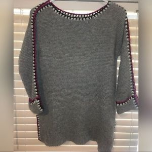 Ply Cashmere Grey Knit Sweater with Crochet Hems S